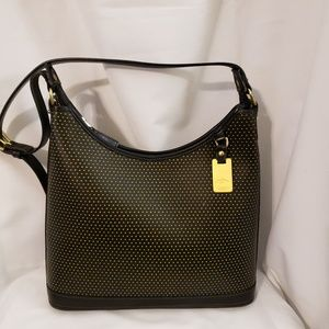 D& B Footed Perforated Black Leather Hobo Bag